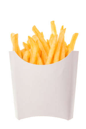 crunchy: french fries in a paper wrapper on white background; roasted potatoes french fried chips; crispy deep-fried golden potato chips in paper wrapper; french fries in white carton box Stock Photo