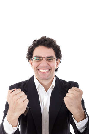 adult man in a suit holding mobile phone and showing sign of success with his hands to the camera with face expression, isolated on white background photo