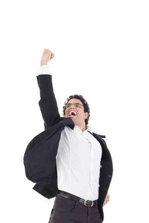 Young happy male  businessman jumps in black suit on white background, sign of success in face of man jumping