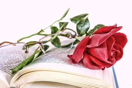 vintage look: Apra il libro e la rosa rossa con gli occhiali sulle pagine del libro, romantico look vintage, concetto di poesia Archivio Fotografico