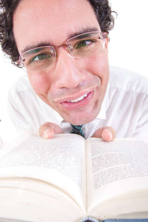 close up of nerd in shirt and tie with glasses holding open book, funny image photo
