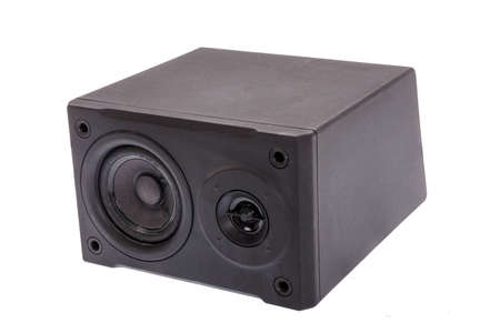 aside: aside photo of black  audio speaker, isolated on white