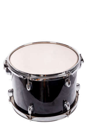 drum and bass: photo of classic black music bass drum  on white background Stock Photo