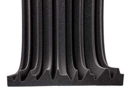 anti noise: sezione trasversale di schiuma isolante in microfibra per il rumore in studio di registrazione o sale acustiche, camere o case, materiale isolante studio professionale, isolamento acustico, isolamento da rumore muro di protezione e ammortizzatore della gomma piuma Archivio Fotografico