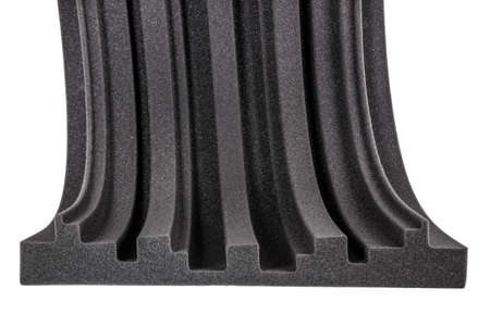 noise isolation: cross section of microfiber foam insulation for noise in music studio or acoustic halls , rooms or houses , professional studio insulation material , noise isolation , noise isolating protective and shock absorber foam wall Stock Photo