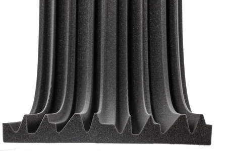 cross section of microfiber foam insulation for noise in music studio or acoustic halls , rooms or houses , professional studio insulation material , noise isolation , noise isolating protective and shock absorber foam wall photo