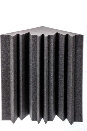 noise isolation: microfiber foam insulation for noise in the corner in music studio or acoustic halls , rooms or houses , professional studio insulation material , noise isolation , noise isolating protective and shock absorber foam Stock Photo