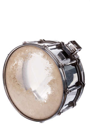 plywood: black music plywood snare drum isolated on white  Stock Photo