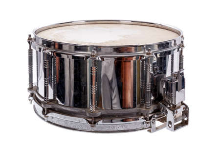 plywood: silver music plywood snare drum isolated on white  Stock Photo