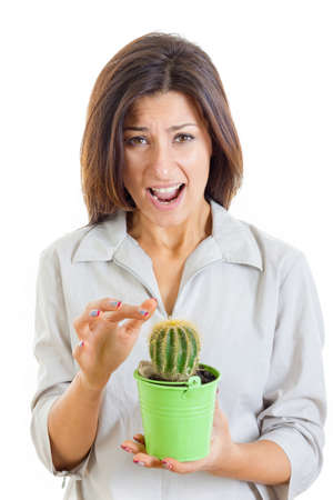 woman holding cactus plant and stabbed her finger with painful facial expression and looking at camera isolated on white , interior decoration photo photo