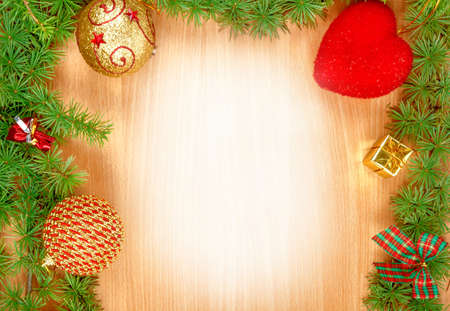 ornamentals: Wonderful Christmas decoration with fir tree and ornamentals gifts or presents on wood board or table with copyspace , blank white space place for text and advertising, greeting card for New Years holidays