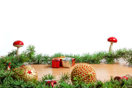 ornamentals: Wonderful Christmas decoration with fir tree and ornamentals gifts or presents on wood board or table with copyspace , blank white space place for text and advertising, family or business greeting card for New Years holidays Stock Photo