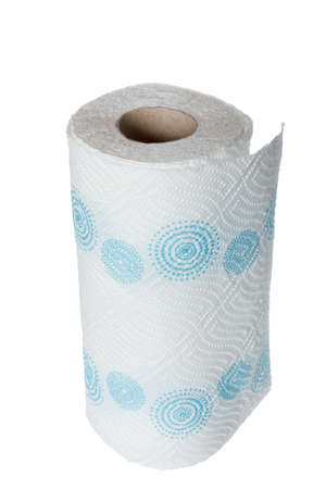 Napkin paper towel kitchen roll with blue patterns. Object isolated on white background without shadows Stock Photo
