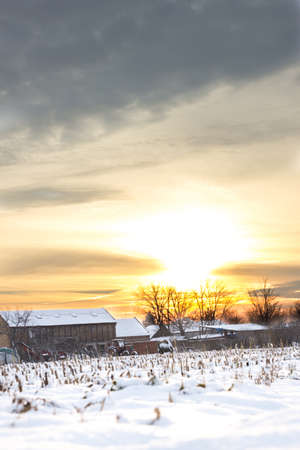 winter's tale: Winters Tale. Winter landscape with snowy countryside village next to cornfield covered in white snow cover at sunset or sunrise. Rural village home in winter time Stock Photo