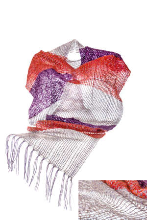 neckwear: Invisible mannequin wearing multicolored big neckwear or scarf of woolen knitted fabric texture isolated on white background. Clean studio shoot of female woman clothing object. Fashion material photo Stock Photo