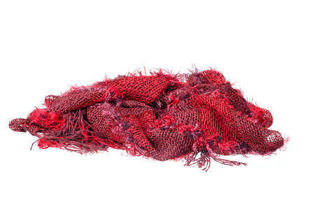 neckwear: Colourful handmade red neckwear or scarf of woolen knitted fabric texture isolated on white background. Clean studio shoot of female or woman clothing object. Fashion material photo