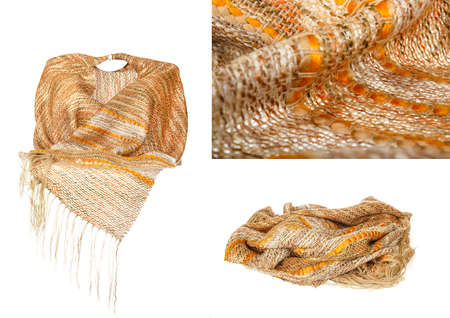 neckwear: Invisible mannequin wearing colourful golden neckwear or scarf of woolen knitted fabric texture isolated on white background. Clean studio shoot of female woman clothing object. Fashion material photo