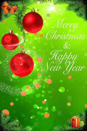 decoraton: Merry Christmas and happy New year decoraton with ornaments , Holiday card with fir twigs and red balls