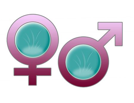femenine:  male and female icons symbols Stock Photo