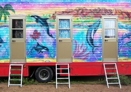 carny: carnival trailer Stock Photo