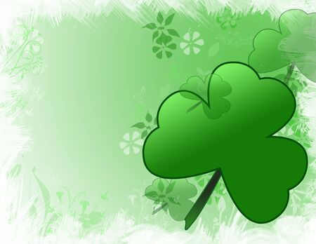 an illustration of a green clover shamrock and flowers for st patricks day!
