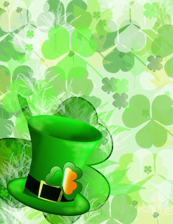 st patricks day hat and clover background Stock Photo
