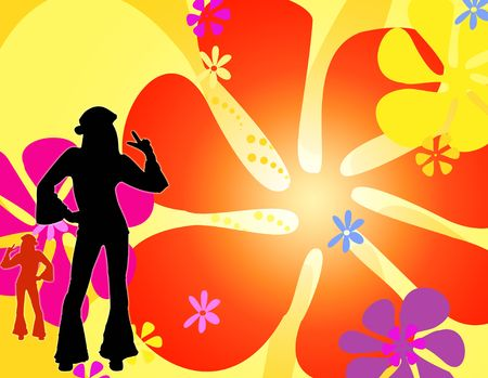 60s hippie: silhouette hippie girls dancing Stock Photo
