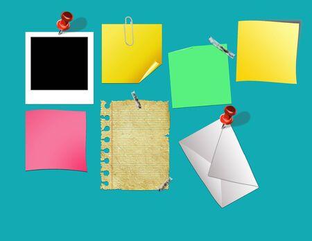 r image: tabl�n de anuncios con la nota de papel