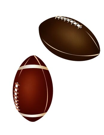a collection of two balls, an american football and a rugby ball