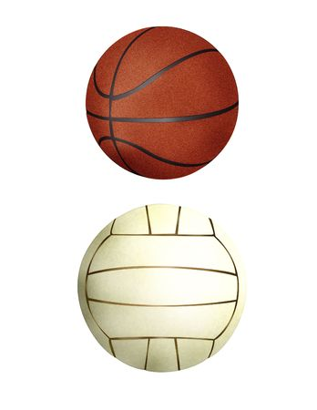 a collection of two balls - handball and a basketball
