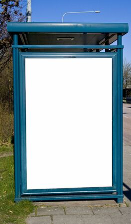 buss: an image of a buss stop with a blank sign with room for text Stock Photo
