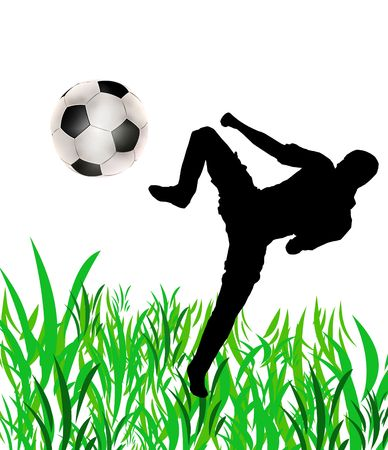 half ball: illustration of a lone footballer, a ball and grass