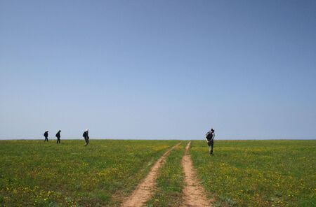 archaeologists:  archaeologists surveying the landscape in crimea, ukraine Stock Photo