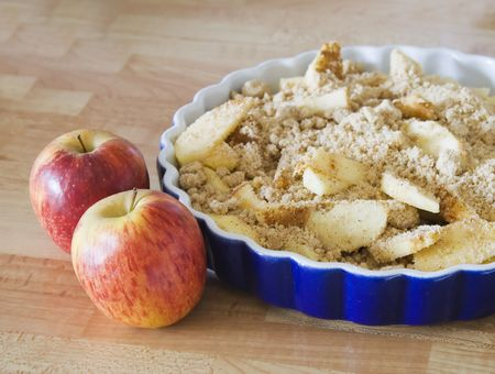 delicious home made apple crumble pie and apples