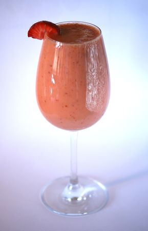 glas: delicious strawberry smoothie drink in a wine glas Stock Photo