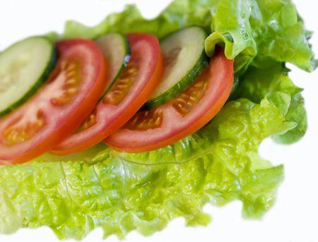 レタス、キュウリ、トマトのサラダの装飾 写真素材