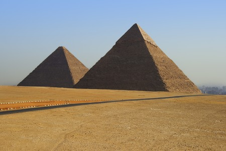 pharoah: two of the great pyramids on the giza plateau