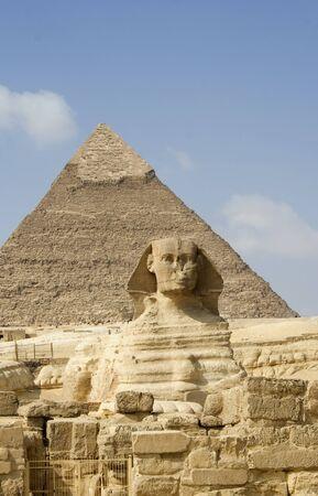 chephren: The Sphinx guarding the pyramid of its master - pharaoh Chephren (Khafre)