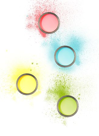 Cans of paint with different colours with paint sploshes Stok Fotoğraf
