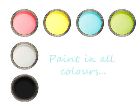 Cans of paint with different colours photo