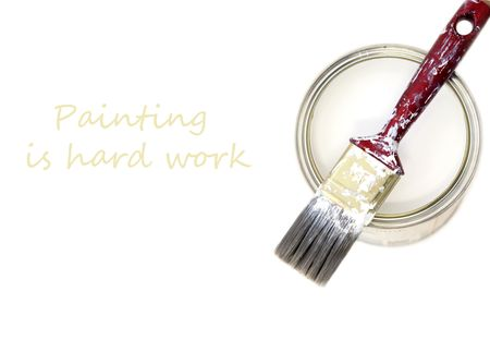 Bucket of white paint and a synthetic brush Stock Photo - 4893414