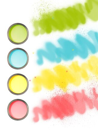 Cans of paint with different colours with paint streaks photo