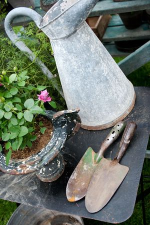 old fashioned and romantic gardening object Stock Photo