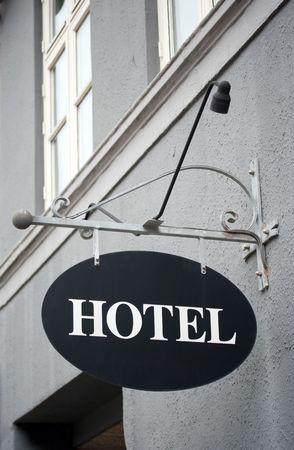 鋳鉄製ヴィンテージ ホテル サイン 写真素材
