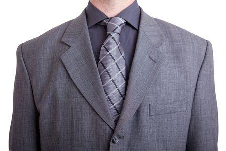 グレーのスーツとネクタイを着て男