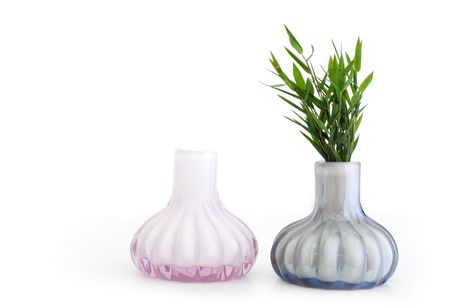 still life with two vases and bamboo, isolated. Stock Photo - 6272941