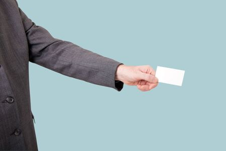 business man with blank card Stock Photo - 6353427