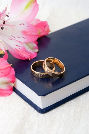 bible flower: Wedding rings placed on a bible with flowers Stock Photo