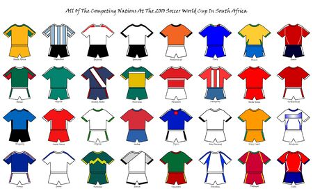A basic representation of the strip designs and colors of all of the national soccer teams competing at the 2010 world cup finals in south Africa. photo