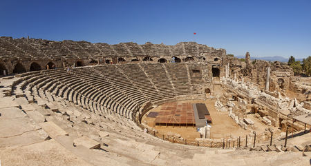 Magnificent amphitheatre from ancient times in Antalya region, Side, Turkey  Stock Photo